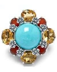 Stephen Dweck | Metallic Sterling Silver Multi-stone Turquoise Citrine Ring | Lyst