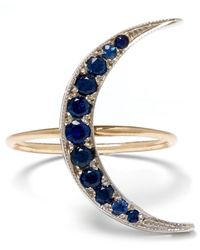 Andrea Fohrman | Blue Medium Gold Sapphire Luna Crescent Moon Ring | Lyst