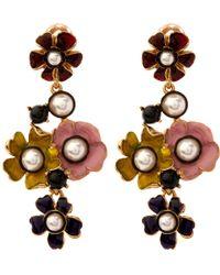 Oscar de la Renta | Metallic Swarovski Crystal Pearl & Resin Floral Earrings | Lyst
