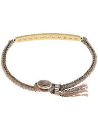 Brooke Gregson | Metallic Gold Diamond Bar Silk Bracelet | Lyst