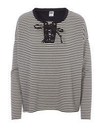 NSF - Black White Dougherty Lace Up Stripe Top - Lyst