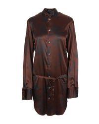 Ann Demeulemeester - Brown Printed Tie Back Silk Shirt - Lyst