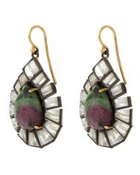 Nak Armstrong - Metallic Gold Ruby Zoisite And Labradorite Drop Earrings - Lyst