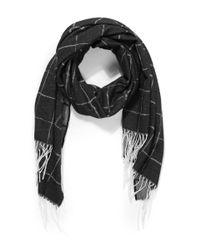 Balenciaga - Black Checked Cashmere Jacquard Scarf - Lyst