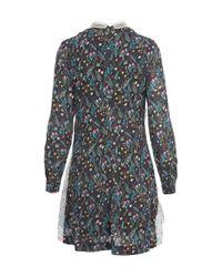 Vivetta - Blue Hand Collar Mixed Print Long Sleeved Dress - Lyst