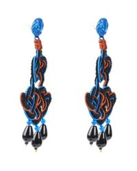 Anna E Alex | Blue Rhodium-plated Silver Velvet Ornate Drop Earrings | Lyst