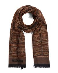 Missoni - Brown Square Textured Fringe Scarf - Lyst