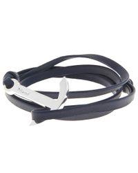 Miansai - Blue Plated Anchor Leather Bracelet for Men - Lyst