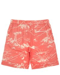 Desmond & Dempsey - Orange Map Print Pyjama Shorts for Men - Lyst