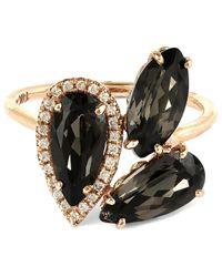 Suzanne Kalan - Metallic Rose Gold Pear Ring With Black Night Quartz And White Diamond - Lyst
