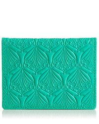 Liberty - Green Travel Card Holder In Iphis Debossed Leather - Lyst