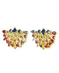 Polly Wales - Metallic Gold Pinched Rainbow Sapphire Fan Earrings - Lyst