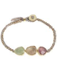 Brooke Gregson | Metallic Gold Triple Orbit Emerald And Pink Sapphire Silk Woven Bracelet | Lyst