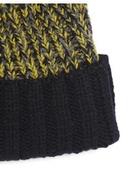 Paul Smith - Yellow Lambswool Twisted-yarn Cable Knit Bobble Hat - Lyst