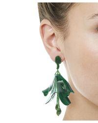 Oscar de la Renta | Green Impatiens Floral Tassel Clip-on Earrings | Lyst