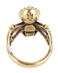 Alexander McQueen | Metallic Gold-tone Jewelled Spider Ring | Lyst