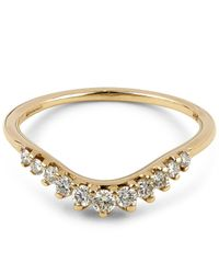 Anna Sheffield - Metallic Gold Tiara White Diamond Curve Ring - Lyst