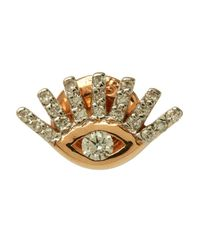 Kismet by Milka - Pink Rose Gold Evil Eye White Diamond Stud Earring - Lyst