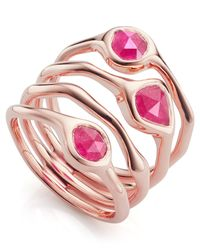 Monica Vinader - Multicolor Rose Gold Vermeil Siren Pink Quartz Cluster Cocktail Ring - Lyst