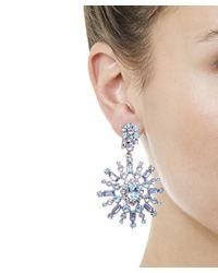 Oscar de la Renta - Blue Crystal Pavé Flower Clip-on Earrings - Lyst