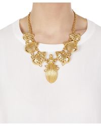 Oscar de la Renta - Metallic Scarab Necklace - Lyst