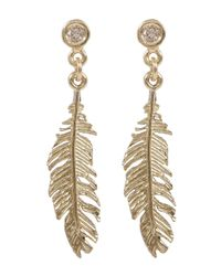 Alex Monroe - Metallic Gold Plume And Champagne Diamond Drop Earrings - Lyst