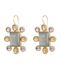 Larkspur & Hawk - Gray Gold Cora Moonstone Cushion Earrings - Lyst