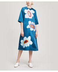 MIRA MIKATI - Blue Flower Appliqué Midi-dress - Lyst