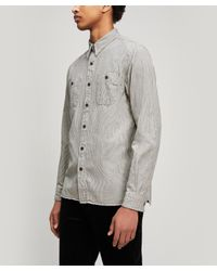 62740b2f RRL Hickory-striped Shirt in Blue for Men - Lyst