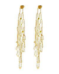 Sia Taylor   Metallic Gold Grid Drop Earrings   Lyst