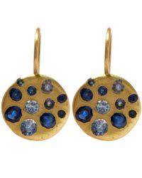 Polly Wales   Metallic Gold Crystal Disc Blue Sapphire Hook Earrings   Lyst