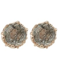 Anna Sheffield - Multicolor Rose Gold Petite Solitaire Earrings - Lyst