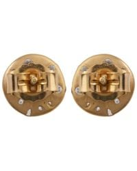 Polly Wales - Metallic Medium Gold White Sapphire Disc Studs - Lyst