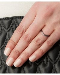 Anna Sheffield - White Diamond And White Gold Diamond Dusted Curve Ring - Lyst