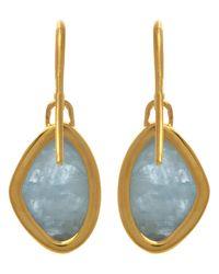 Monica Vinader - Metallic Gold-plated Aquamarine Siren Teardrop Earrings - Lyst
