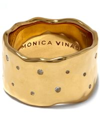 Monica Vinader   Red Gold-plated White Topaz Siren Scatter Wide Band Ring   Lyst