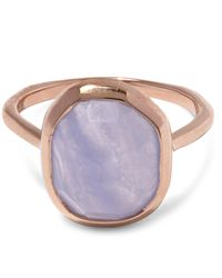 Monica Vinader | Multicolor Rose Gold-plated Blue Lace Agate Medium Siren Stacking Ring | Lyst