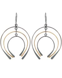 Melissa Joy Manning | Blue Gold And Silver Graduated Horseshoe Drop Earring | Lyst