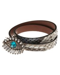 Alexander McQueen - White Lucky Eye Double Wrap Bracelet - Lyst