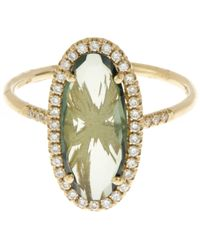Suzanne Kalan | Metallic Gold Green Topaz And White Diamond Ring | Lyst