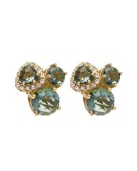 Suzanne Kalan | Metallic Gold White Diamond And Green Envy Topaz Earrings | Lyst