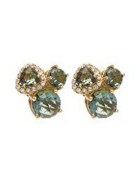 Suzanne Kalan | Metallic Gold White Diamond And Green Envy Topaz Earrings | Lyst