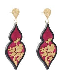 Anna E Alex - Pink Gold-plated Silver Velvet Ornate Drop Earrings - Lyst