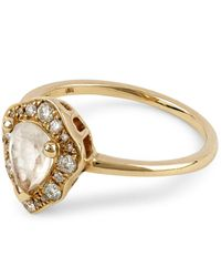 Anna Sheffield - Metallic Gold Camellia Petal Rainbow Moonstone Ring - Lyst