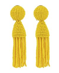 Oscar de la Renta | Yellow Short Beaded Tassel Earrings | Lyst