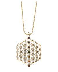 Noor Fares - Metallic Flower Of Life Chakra Amulet - Lyst