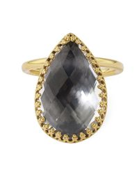 Larkspur & Hawk | Metallic 18ct Gold Sadie White Quartz Pear Ring | Lyst