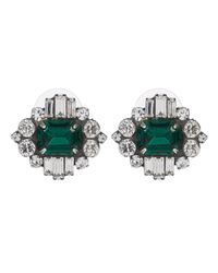 DANNIJO | Metallic Athena Silver Emerald Stud Earrings | Lyst