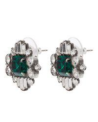 DANNIJO - Metallic Athena Silver Emerald Stud Earrings - Lyst