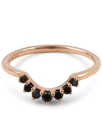 Anna Sheffield - Metallic Rose Gold Grand Tiara Black Diamond Ring - Lyst